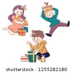 kid smiling because them happy... | Shutterstock .eps vector #1255282180