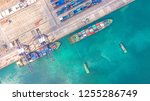 container ship in export and... | Shutterstock . vector #1255286749