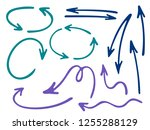 hand drawn diagram arrow icons... | Shutterstock .eps vector #1255288129