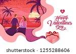 lovely couple  valentine's day  ... | Shutterstock .eps vector #1255288606