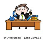 busy on phone cartoon... | Shutterstock .eps vector #1255289686