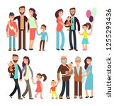happy active family cartoon... | Shutterstock . vector #1255293436