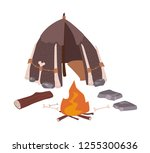 primitive house or archaic... | Shutterstock .eps vector #1255300636
