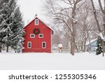 Red Barn With Christmas Wreath...