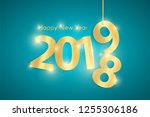 turquoise happy new year 2019... | Shutterstock .eps vector #1255306186