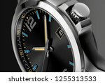 black leather watch for men  | Shutterstock . vector #1255313533