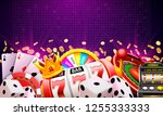 casino dice banner signboard on ... | Shutterstock .eps vector #1255333333