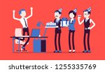 birthday party in the office.... | Shutterstock .eps vector #1255335769