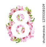 floral card for eight march 8.... | Shutterstock . vector #1255338109
