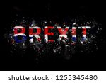 exploding brexit text in union... | Shutterstock . vector #1255345480