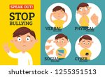 stop bullying in the school. 4...   Shutterstock .eps vector #1255351513