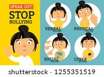 stop bullying in the school. 4... | Shutterstock .eps vector #1255351519