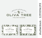 oliva tree logo at engraving... | Shutterstock .eps vector #1255356193