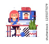 illustration in flat style with ... | Shutterstock .eps vector #1255377079