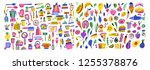 cooking flat hand drawn... | Shutterstock .eps vector #1255378876