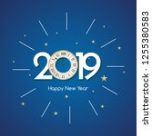 happy new 2019 year background. ... | Shutterstock .eps vector #1255380583