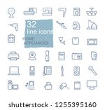 set of linear icons of home... | Shutterstock .eps vector #1255395160