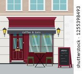 vector image of little cafe.... | Shutterstock .eps vector #1255398493