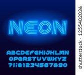 neon tube alphabet font. blue... | Shutterstock .eps vector #1255402036