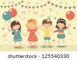 an illustration of kids party | Shutterstock . vector #125540330