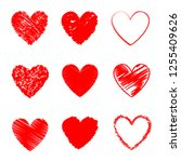 heart hand drawn icons set... | Shutterstock .eps vector #1255409626