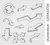 arrows. pencil drawing  dirty... | Shutterstock . vector #1255423720