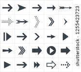 arrow icons. black flat set of... | Shutterstock . vector #1255423723