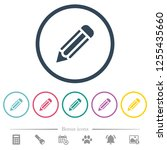 single pencil flat color icons... | Shutterstock .eps vector #1255435660