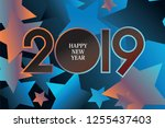 happy new year 2019. modern... | Shutterstock .eps vector #1255437403