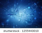 heart with cardiogram  2d... | Shutterstock . vector #1255443010