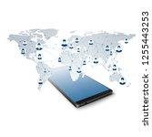 global social network. network... | Shutterstock . vector #1255443253