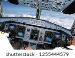 cockpit of civil airliner... | Shutterstock . vector #1255444579