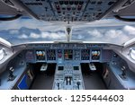cockpit of civil airliner... | Shutterstock . vector #1255444603