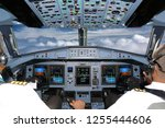 cockpit of civil airliner... | Shutterstock . vector #1255444606