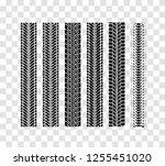 tire tracks collection. vector... | Shutterstock .eps vector #1255451020