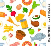 unhealthy and healthy food and... | Shutterstock .eps vector #1255452883
