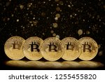 bitcoin coin on the black... | Shutterstock . vector #1255455820