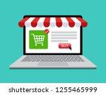 online shopping store shop on... | Shutterstock .eps vector #1255465999