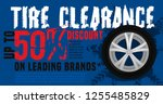 vector tire sale out banner... | Shutterstock .eps vector #1255485829