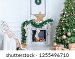 christmas interior in the... | Shutterstock . vector #1255496710