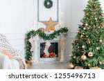 christmas interior in the... | Shutterstock . vector #1255496713