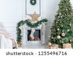 christmas interior in the... | Shutterstock . vector #1255496716