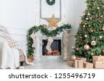 christmas interior in the... | Shutterstock . vector #1255496719