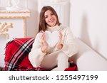 valentine's day  happy  smiling ... | Shutterstock . vector #1255497199