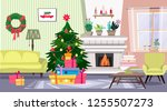 cozy christmas  interior with ... | Shutterstock .eps vector #1255507273