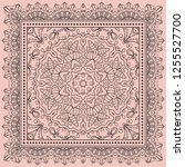 bandana print  silk neck scarf... | Shutterstock .eps vector #1255527700
