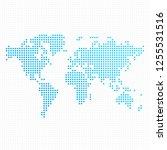 dotted world map. vector... | Shutterstock .eps vector #1255531516