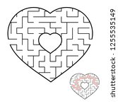 abstract heart shaped labyrinth.... | Shutterstock .eps vector #1255535149