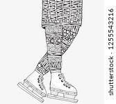winter girl on skates.   adult... | Shutterstock .eps vector #1255543216