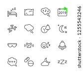 sleep vector line icons set....   Shutterstock .eps vector #1255543246